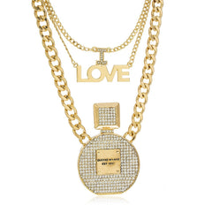 Goldtone I Love Perfume Round Three Layered Chain Necklace