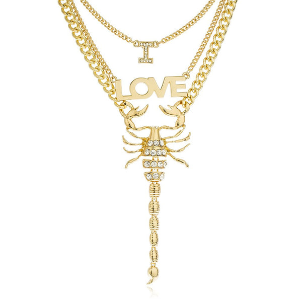 Goldtone I Love Scorpion Three Layered Chain Necklace