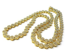 Goldtone Iced Out 33 Inch Sunflower Cluster Chain Necklace [Jewelry]