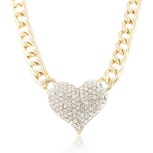 Goldtone Iced Out 3D Heart Pendant With A 16 Inch Adjustable Link Necklace