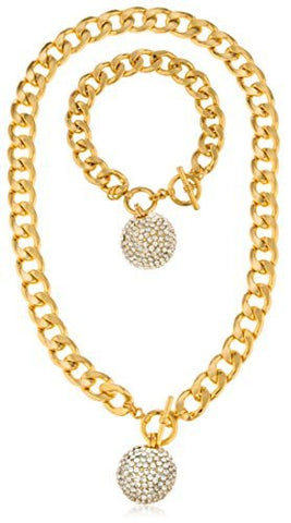 Goldtone Iced Out Ball Pendant With An 18.5 Inch Cuban Necklace & Bracelet Jewelry Set