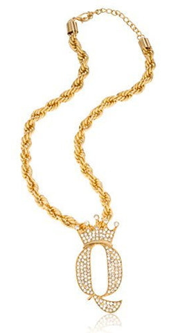 "Goldtone Iced Out "" Crown The Queen"" Pendant With Thick Rope Chain Necklace"