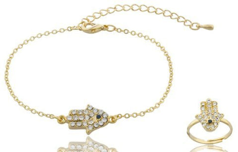 Goldtone Iced Out Hamsa Charm Bracelet And Adjustable Finger Ring Jewelry Set