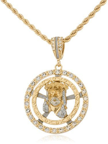 "Goldtone Iced Out Jesus Head Surrounded With Jesus Fish Round Pendant With A 30"" Rope Chain"