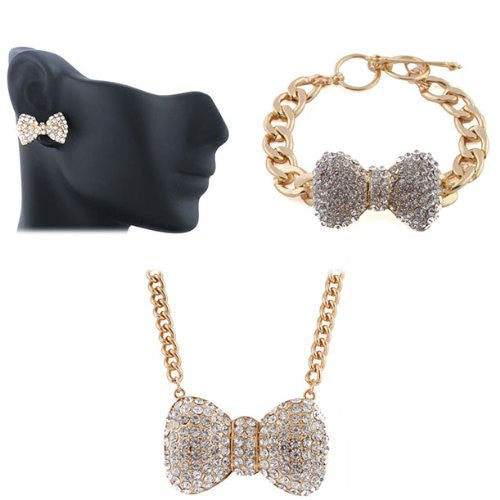 Goldtone Iced Out Medium Bowtie Pendant Necklace Matching Bracelet And Stud Earrings Jewelry Set