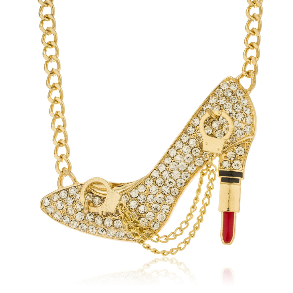 Goldtone Iced Out Pump Lipstick Heel...