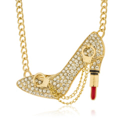Goldtone Iced Out Pump Lipstick Heel Pendant With Dangling Handcuffs Cuban Chain Necklace