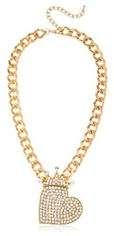 "Goldtone Iced Out ""Queen Of Hearts"" Pendant With Cuban Chain Necklace"