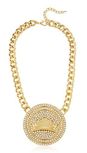 Goldtone Iced Out Round Pendant &...
