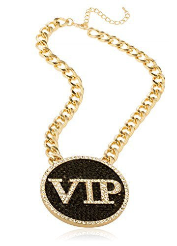 Goldtone Iced Out Round 'VIP' Pendant...