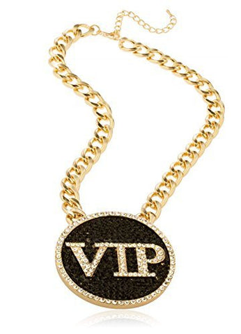 Goldtone Iced Out Round 'VIP' Pendant With A 18 Inch Cuban Chain Necklace