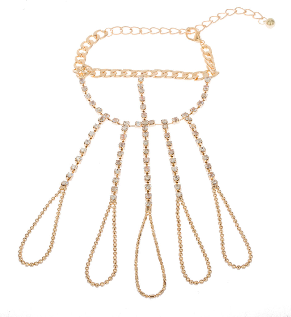 Goldtone Iced Out Single Row With...