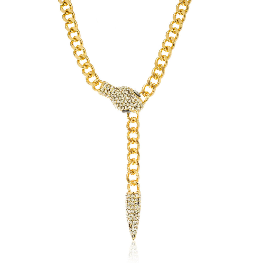 Goldtone Iced Out Snake Necklace With...