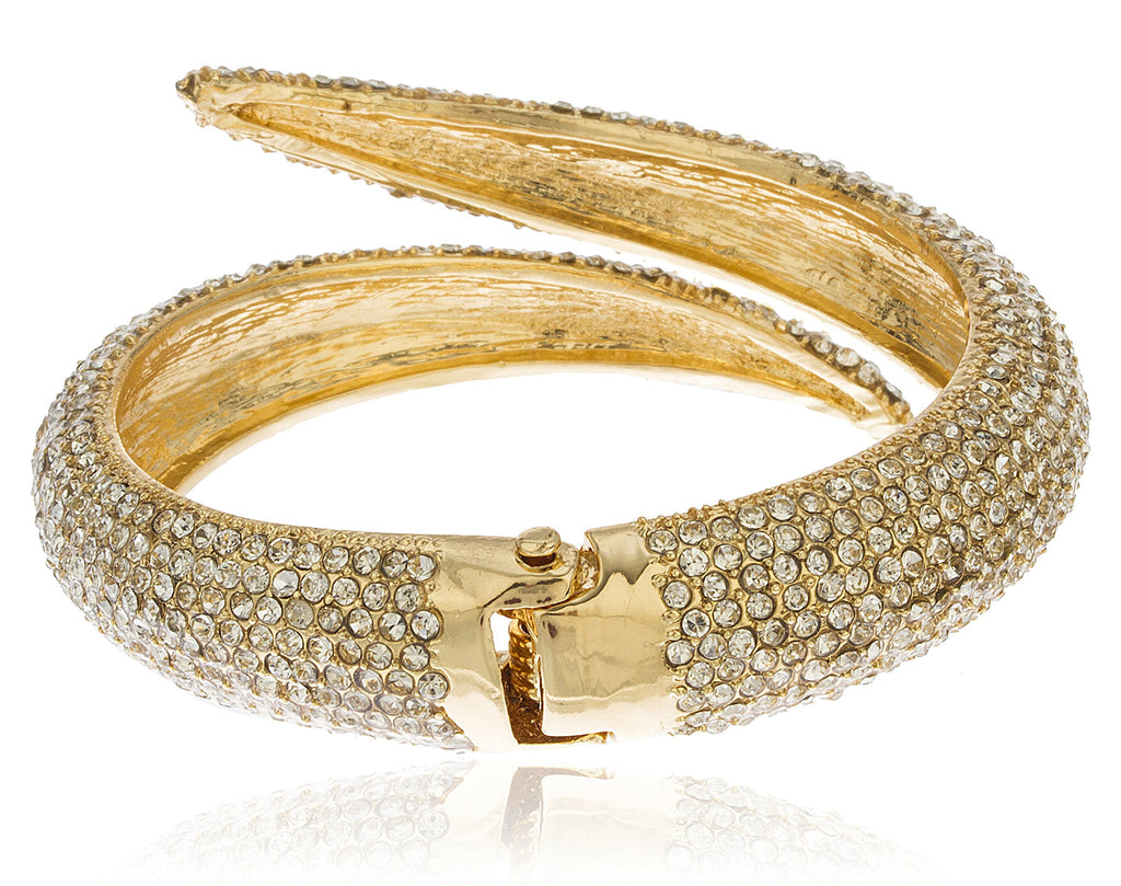 Goldtone Iced Out Swirl Hinged Bangle...