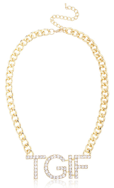 Goldtone Iced Out 'TGIF' Necklace