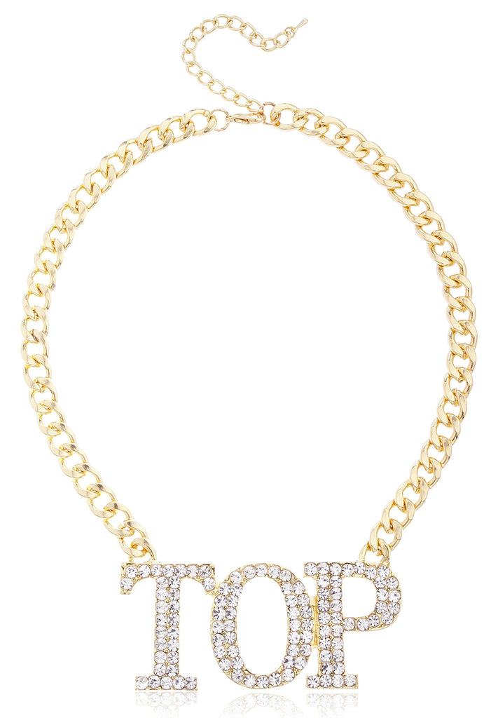 Goldtone Iced Out 'Top' Necklace