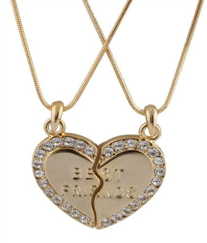 Goldtone Iced Out Two Best Friend Heart Pieces Pendant With A 16 Inch Adjustable Chain Necklace
