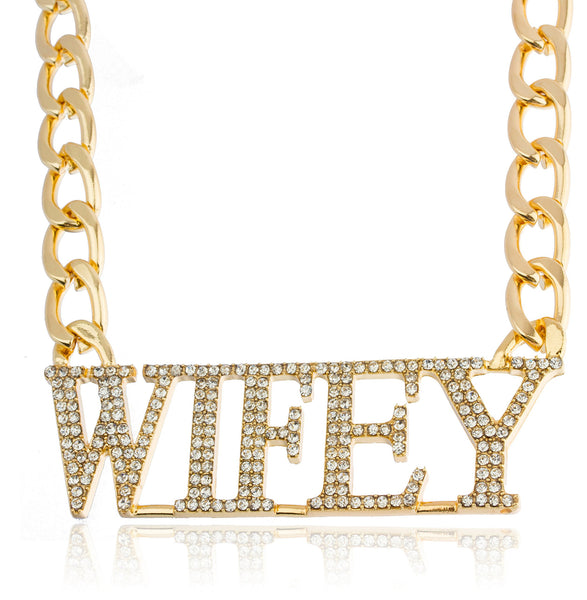 Goldtone Iced Out Wifey Pendant With An 18.5 Inch Adjustable Necklace