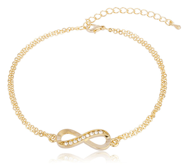 Goldtone Infinity Adjustable Charm Anklet With Stones