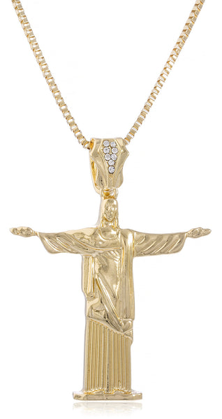 "Goldtone Jesus The Redeemer Pendant With 30"" Box Chain Necklace"