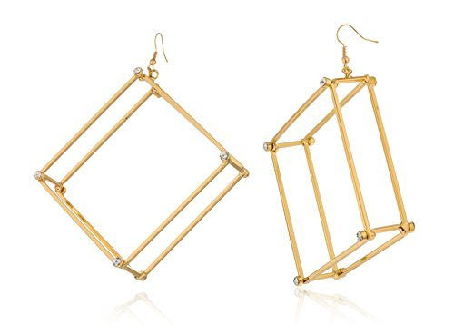 Goldtone Large 3d Square With Stones Hoop Earrings