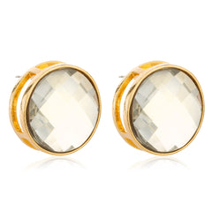 Goldtone Large 'Crystal Clear' Round Cylinder Earrings