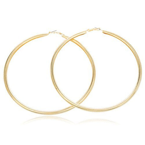 Goldtone Large Fancy Design 4.5 Inch Hoop Earrings