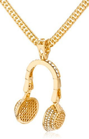 Goldtone Large Iced Out 3d Headphone Pendant With A 32 Inch Chain