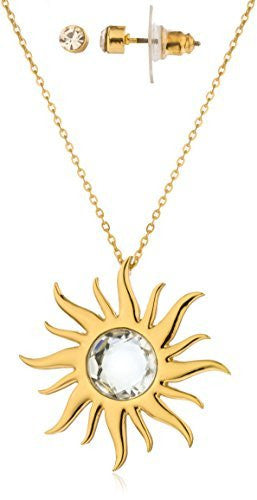 Goldtone Large Sun Pendant With Clear...