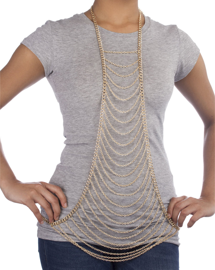 Goldtone Layered Center Drop Body Chain...
