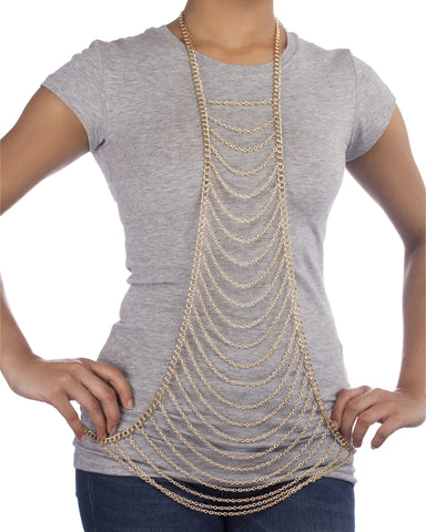 Goldtone Layered Center Drop Body Chain