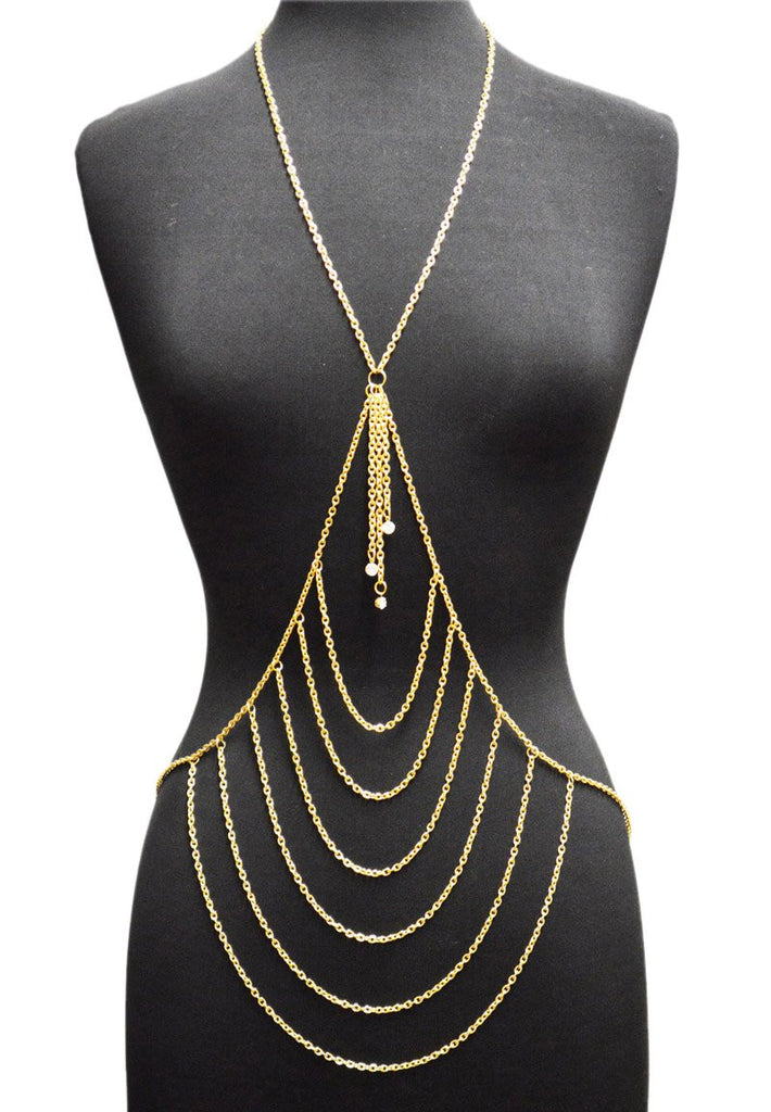 Goldtone Layered Center With Tassel Drop...