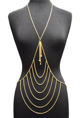 Goldtone Layered Center With Tassel Drop Body Chain