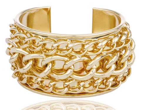 Goldtone Layered Chain Design Cuff Bangle Bracelet