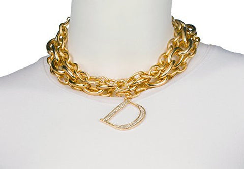 "Goldtone Layered Choker With Dangling Iced Out ""D"" Necklace"