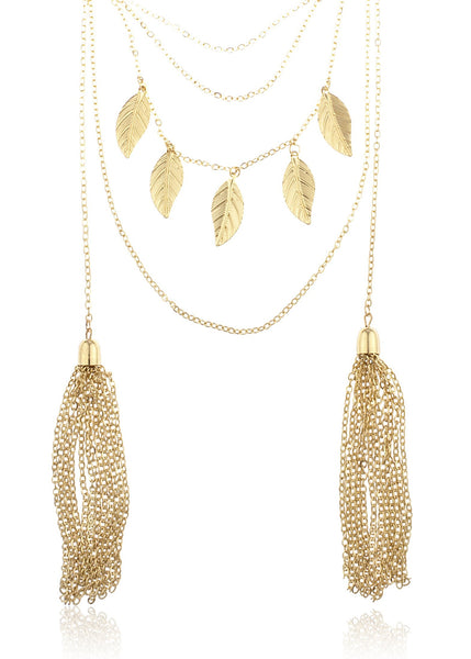 Goldtone Layered Dangling Leaves And Tassels Chain Necklace
