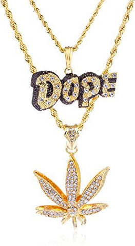 "Goldtone Layered Dope And Marijuana Pendants With A 24"" & 30"" Rope Necklace"