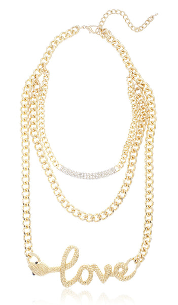 Goldtone Layered Iced Out Bar And Snake 'Love' Necklace