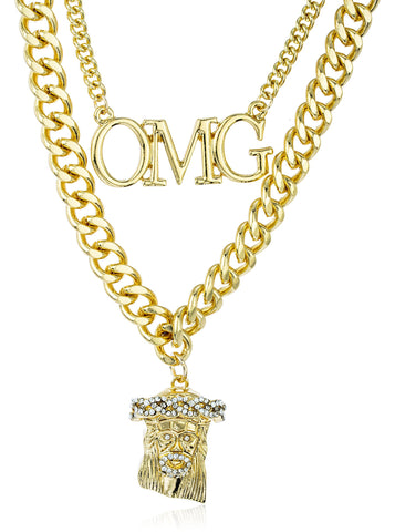 Goldtone Layered Iced Out OMG, Jesus Pendant Adjustable Link Chain Necklace