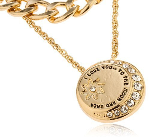 "Goldtone Layered ""Love You To The Moon And Back"" Pendant With Stones Necklace"