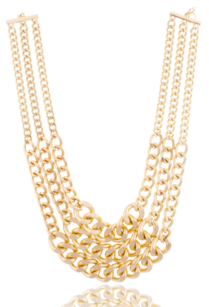 Goldtone Layered Multi Cuban Chains Links...