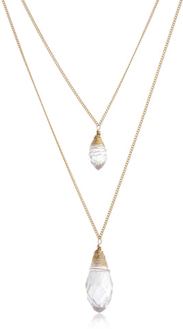 Goldtone Layered Necklace With Two Dangling Clear Stones