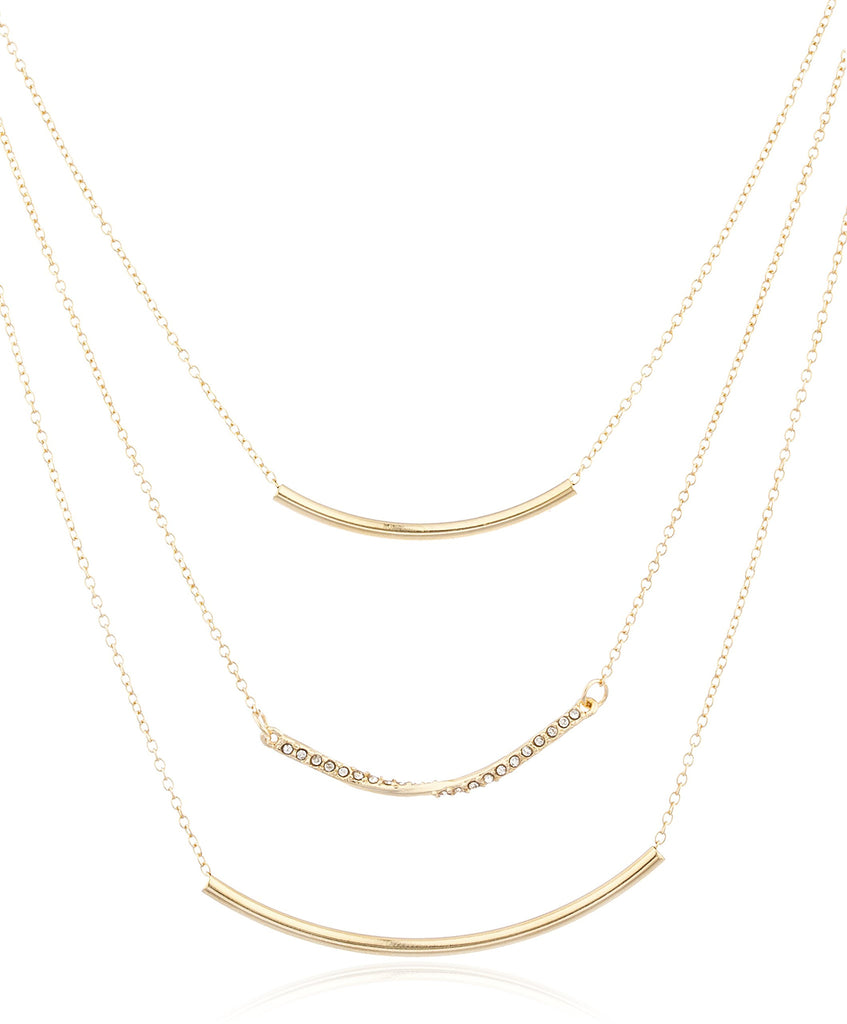 Goldtone Layered Pipes Necklace With Clear...