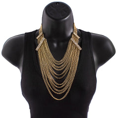 Goldtone Layered Tassel Chain Necklace With Clear Stones