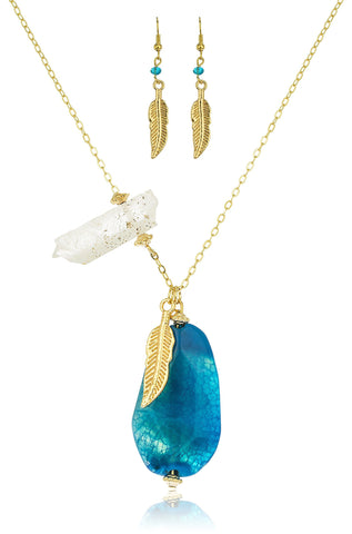 "Goldtone Leaf And Large Stone Design 24"" Adjustable Necklace With Matching Earrings (Blue)"