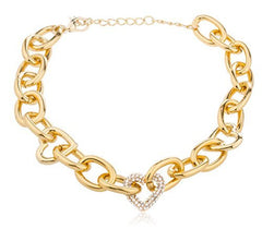 Goldtone Link Chain With Iced Out Hearts Necklace