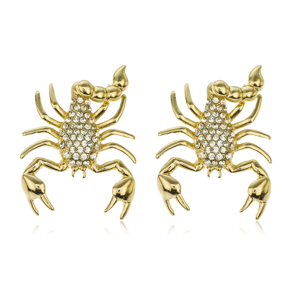 Goldtone Lobster With Clear Stones Drop...