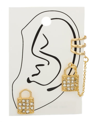 Goldtone Lock With Stones Ear Cuff And Ear Lobe Earrings With Link Chain