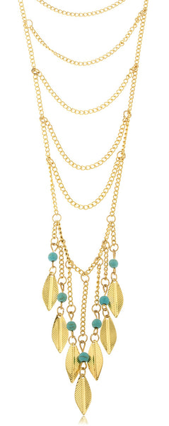 Goldtone Long Eight Tier Chain Necklace With Dangling Feathers