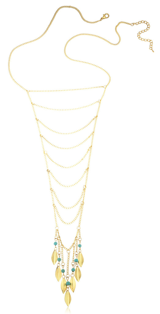 Goldtone Long Eight Tier Chain Necklace...
